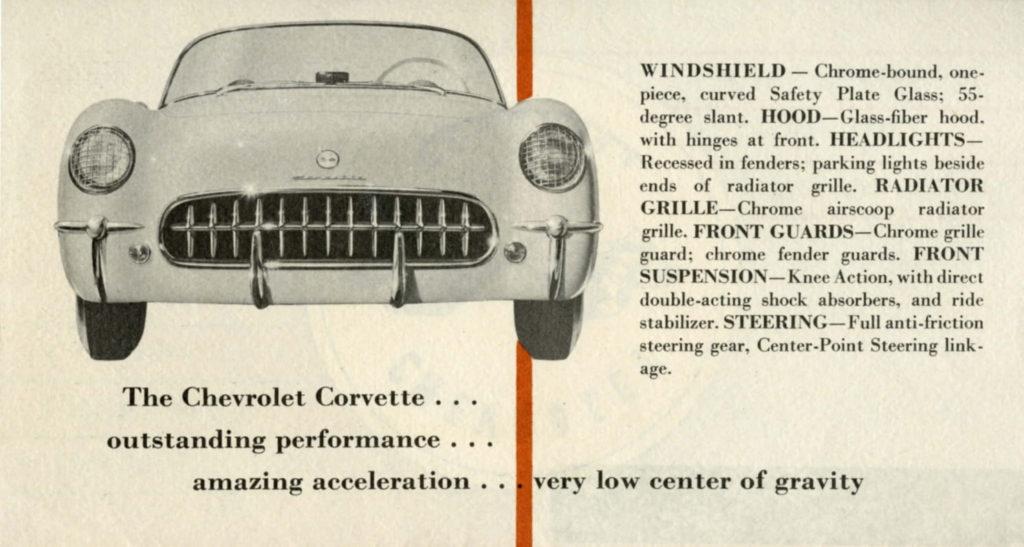 1953 Corvette Brochure: The Chevrolet Corvette...outstanding performance, amazing acceleration, very low center of gravity.