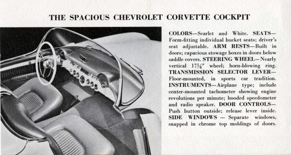 1953 Corvette Brochure: The Spacious Chevrolet Corvette cockpit.