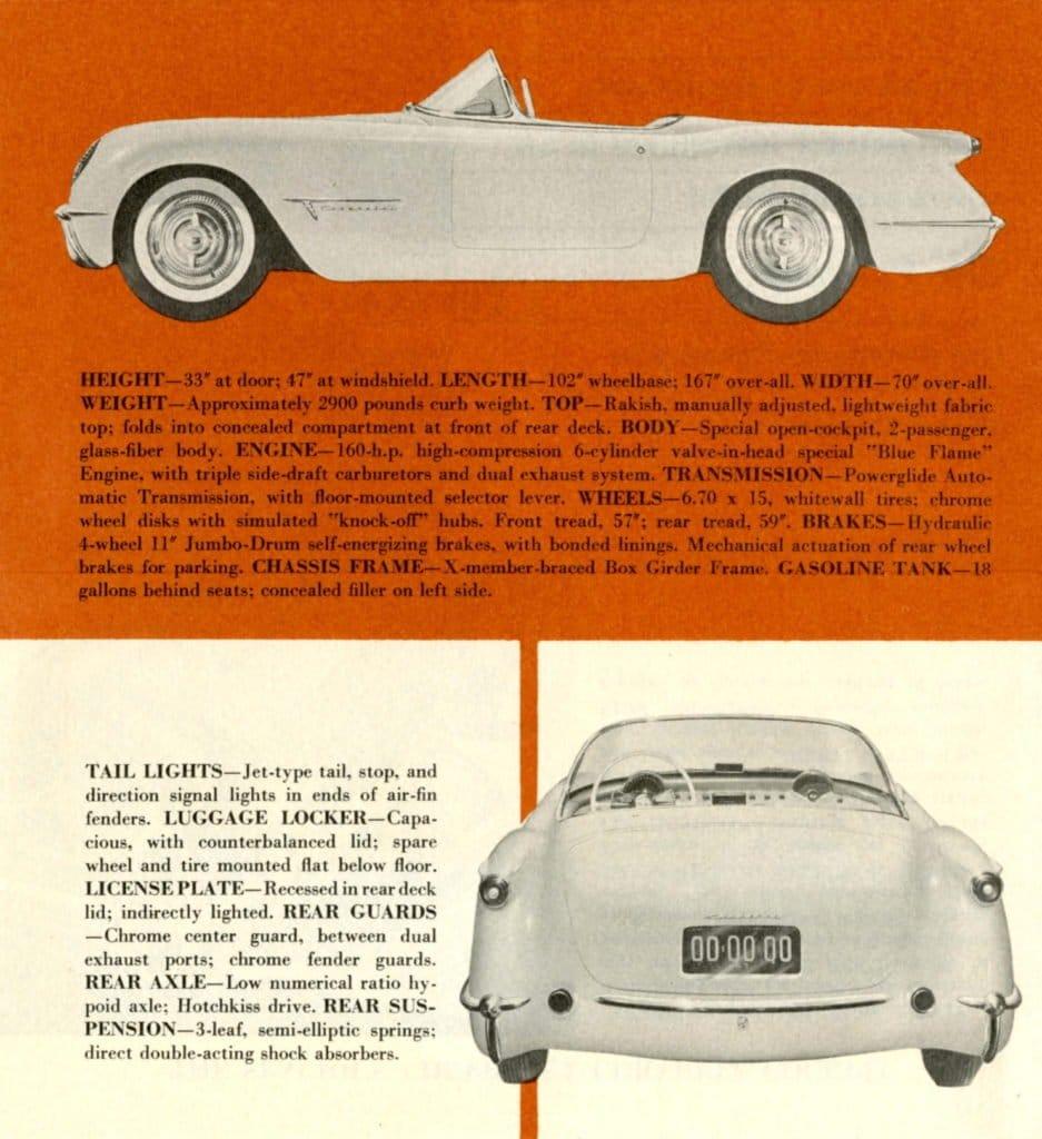 1953 Corvette Brochure: Specifications