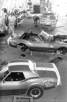 You see the James Garner's Corvette in the Guldstrand R&D shop in preparation for the 1968 Daytona 24 hour race.
