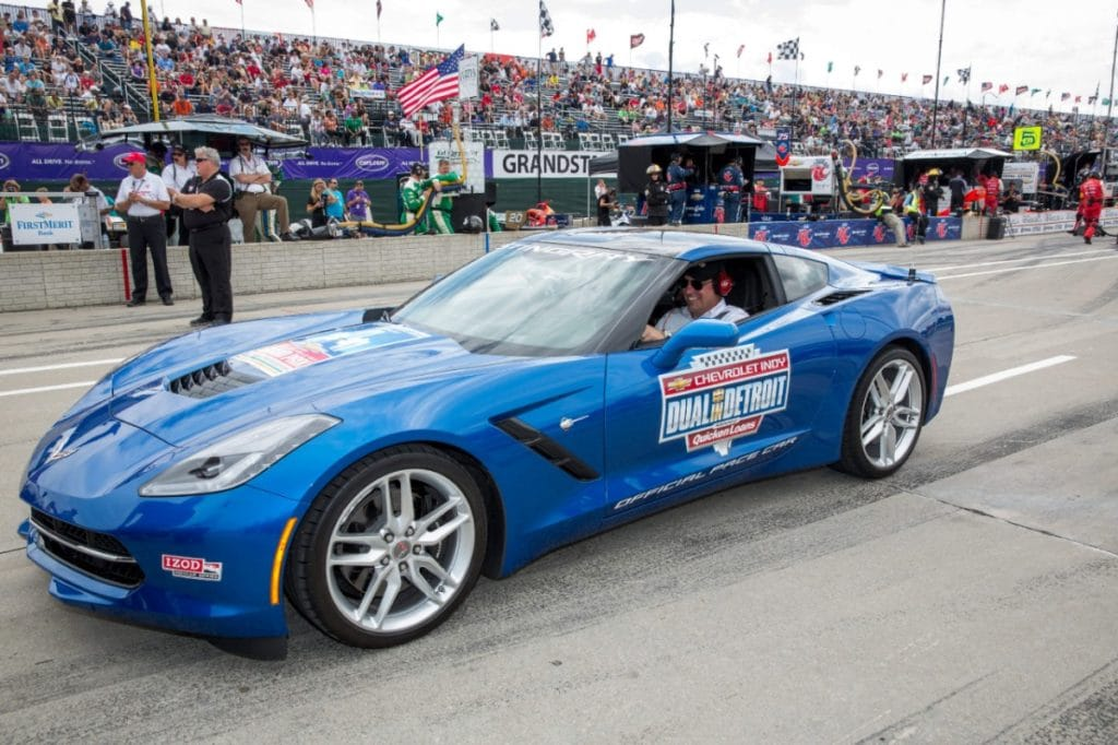 General Motors North America President Mark Reuss drives the 2014 Corvette Stingray Pace Car out onto the Chevrolet Detroit Belle Isle Grand Prix circuit Saturday, June 1, 2013 to pace the first Chevrolet Indy Dual in Detroit race in Detroit, Michigan. (Photo by John F. Martin for General Motors)