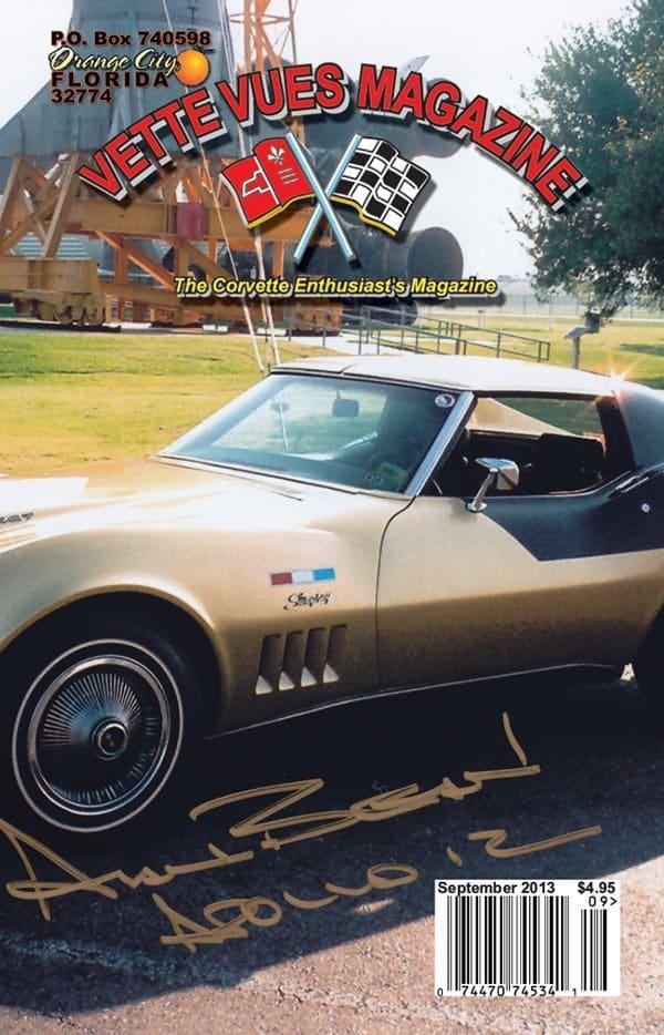 September 2013 Cover Vette Vues Magazine. The cover Vette is Alan Bean's 1969 Corvette Astrovette.