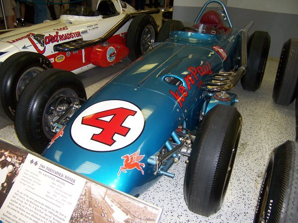 Image of the winning car of the 1960 Indianapolis 500 (Jim Rathmann). Photo was taken at the Indianapolis Motor Speedway Hall of Fame Museum.