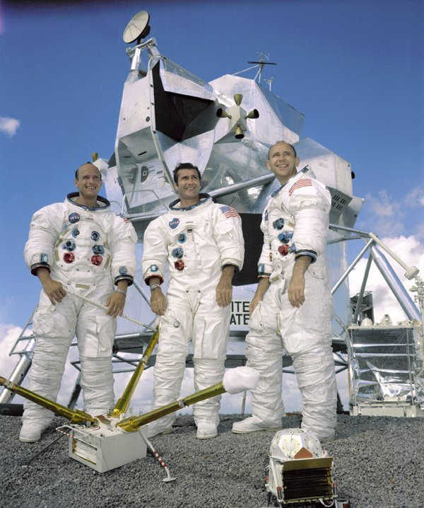 """Portrait of the prime crew of the Apollo 12 lunar landing mission. From left to right they are: Commander, Charles """"Pete"""" Conrad Jr. Command Module pilot, Richard F. Gordon Jr. and Lunar Module pilot, Alan L.Bean. The Apollo 12 mission was the second lunar landing mission in which the third and fourth American astronauts set foot upon the Moon. This mission was highlighted by the Lunar Module nicknamed """"Intrepid"""" landing within a few hundred yards of a Surveyor probe which was sent to the Moon in April of 1967 on a mapping mission as a precursor to landing. 22 September 1969. Photo courtesy of NASA"""