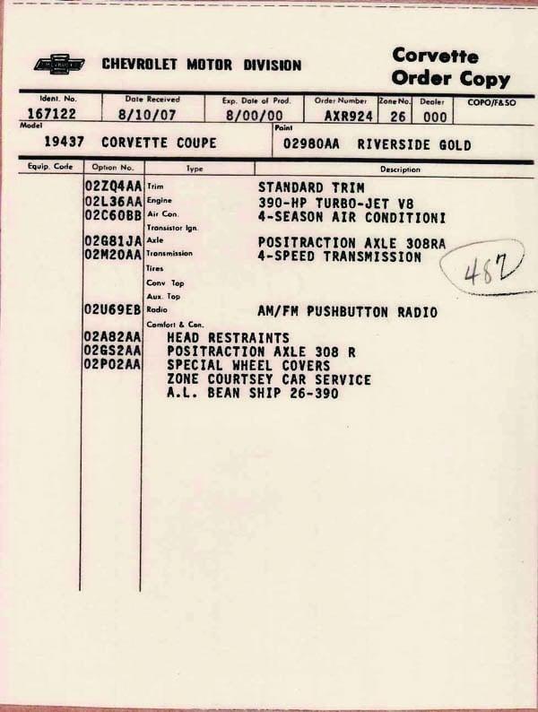 Corvette Order Page 3