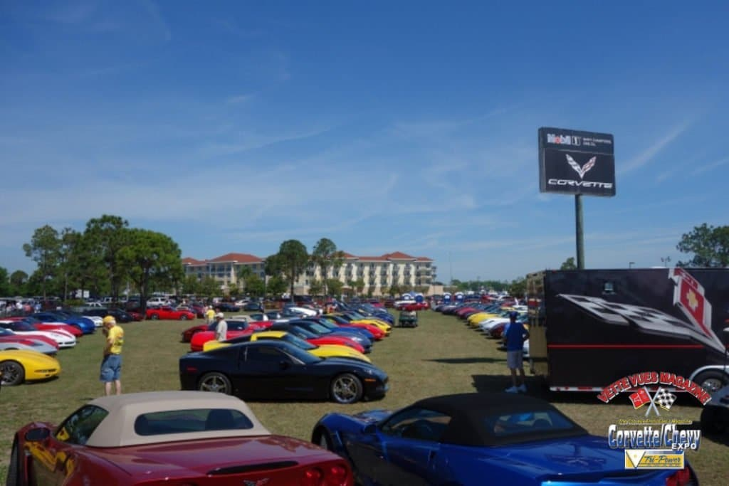 Corvette Corral with 250 Corvettes wedged in at the 2015 Sebring race.