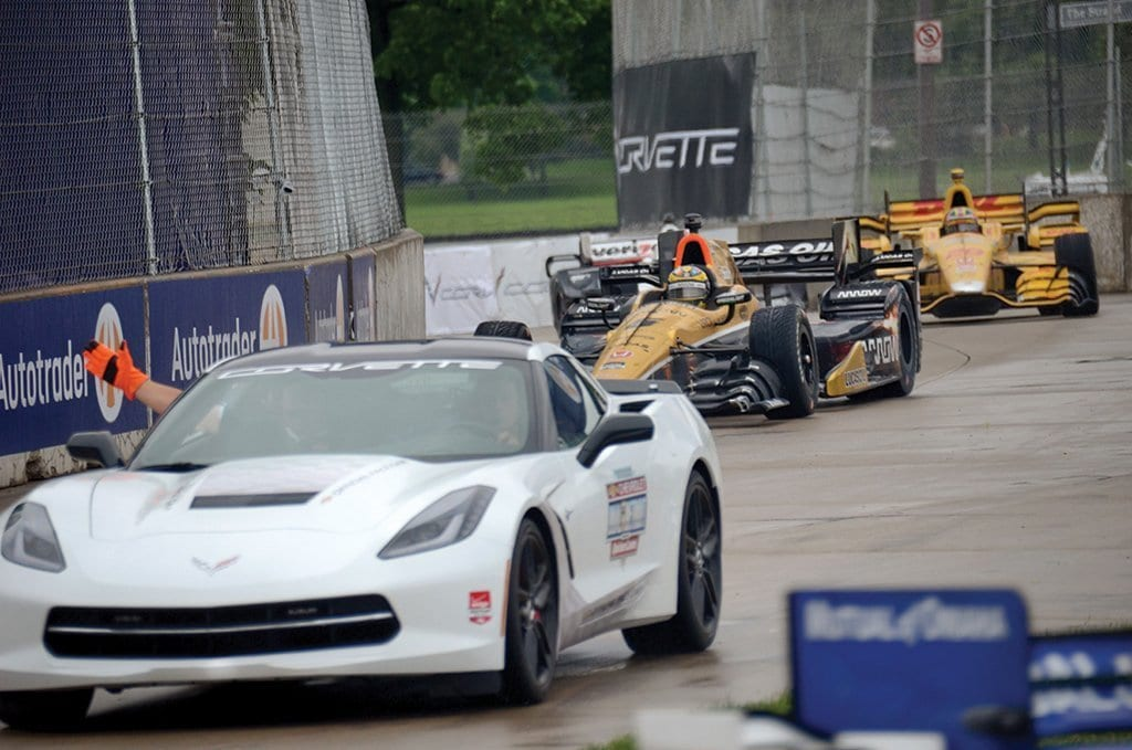 General Motors Executive Vice President Product Development Mark Reuss drove the Corvette Z06 pace car for the Chevrolet Dual in Detroit on Belle Isle in Detroit, Michigan for the 2015 Detroit Grand Prix. The Corvette Z06 features 650 supercharged horsepower, a seven-speed manual transmission, and a track-capable chassis system. Photo Credits: David Estes.