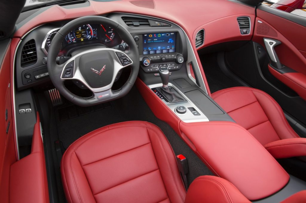 The new Spice Red Design Package offered on the 2016 Corvette Stingray and Z06 features a special Spice Red full-color interior, Spice Red brake calipers behind new Blade accessory wheels and, on convertible models, a Spice Red top. It is offered with the new Long beach Red Metallic Tintcoat exterior color, as well as Shark Gray, Blade Silver and Arctic White. © General Motors