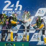 Corvette C7.R Wins GTR Pro Class 24-Hours At Le Mans: Jordan Taylor (l to r), Oliver Gavin and Tommy Milner, drivers of the #64 Chevrolet Corvette Racing C7.R, celebrate their victory at Circuit de la Sarthe Sunday, June 14, 2015 after winning the GTE Pro class of the 24 Hours of Le Mans United Sports Car Championship, FIA World Endurance Championship in Le Mans, France. It is the eighth Le Mans class victory for the Corvette Racing team since its debut here in 2000. (Photo by Richard Prince for Chevy Racing) © General Motors