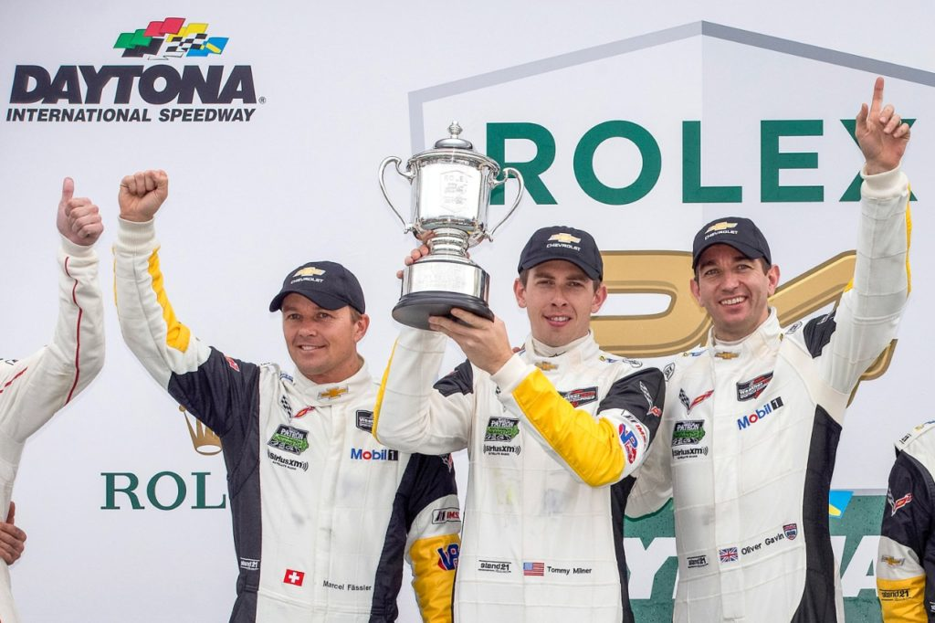 Photo: Marcel Fässler (l to r), Tommy Milner and Oliver Gavin, drivers of the #4 Chevrolet Corvette Racing C7.R, celebrate their victory in the GTLM class Sunday, January 30, 2016, after winning the Rolex 24 At Daytona WeatherTech SportsCar Championship endurance race at Daytona International Speedway in Daytona Beach, Florida. The #3 Chevrolet Corvette Racing C7.R, driven by Jan Magnussen, Antonio Garcia, and Mike Rockenfeller finished 2nd. (Photo by Richard Prince for Chevy Racing) © General Motors