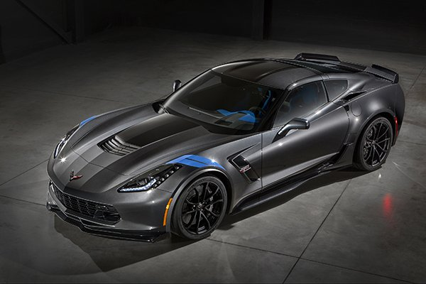 The new 2017 Chevrolet Corvette Grand Sport combines a lightweight architecture, a track-honed aerodynamics package, Michelin tires and a naturally aspirated engine to deliver exceptional performance. The Grand Sport Collector Edition features an exclusive Watkins Glen Gray Metallic exterior with Tension Blue hash-mark graphics, satin black full-length stripes and black wheels. the new Grand Sport combines a lightweight architecture, a track-honed aerodynamics package, Michelin tires and a naturally aspirated engine. © General Motors