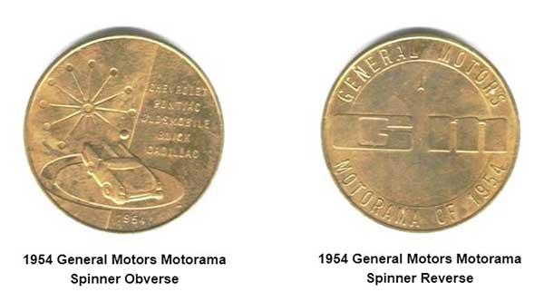 1954 GM Motorama Spinner Tokens