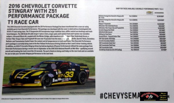 2016 Chevrolet Corvette Stingray with Z51 Performance Package T1 Race Car Specifications