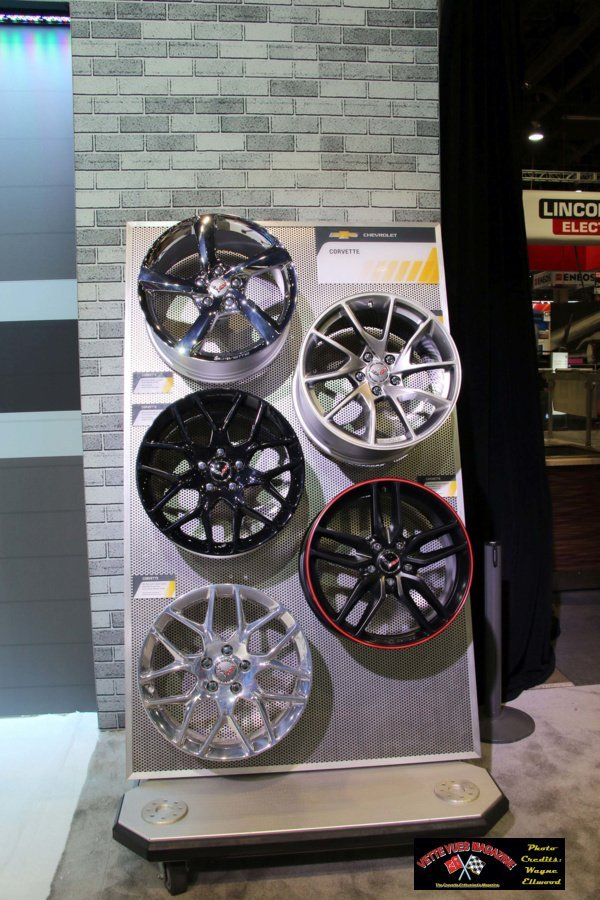 Choices of Wheels in the GM booth at SEMA 2016.