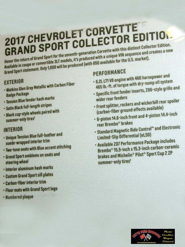 2017 Chevrolet Corvette Grand Sport Specifications.