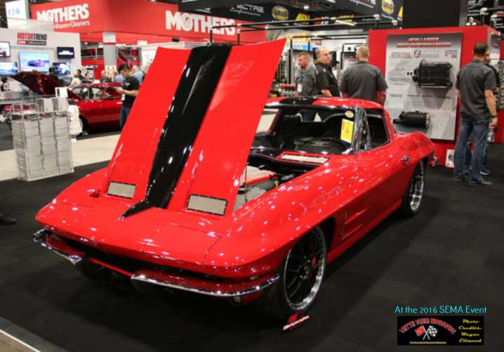 EDELBROCK PERFORMANCE DISPLAYED LARRY FITZGERALD'S RED 1963 CORVETTE