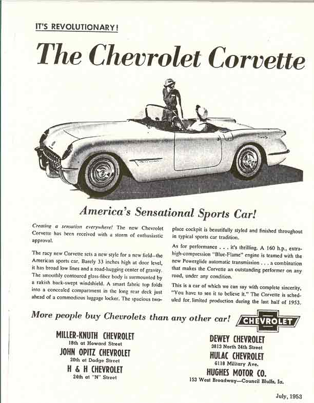 1953 Corvette Magazine Ads & Trivia