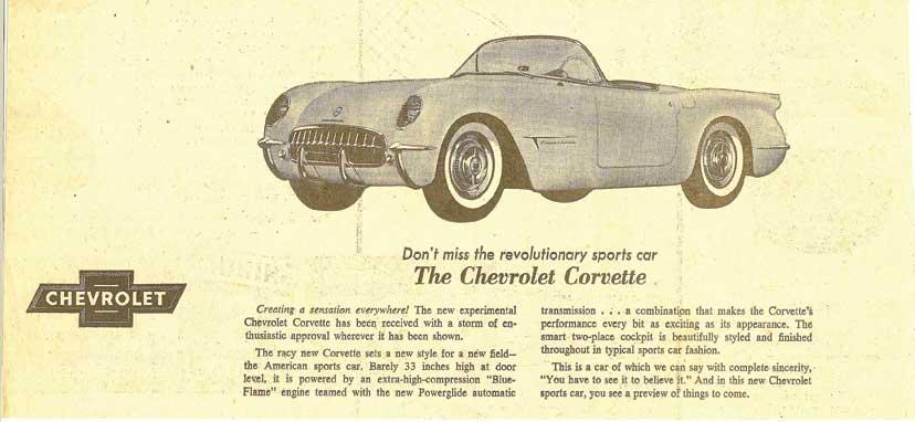1953 Corvette Magazine Ad