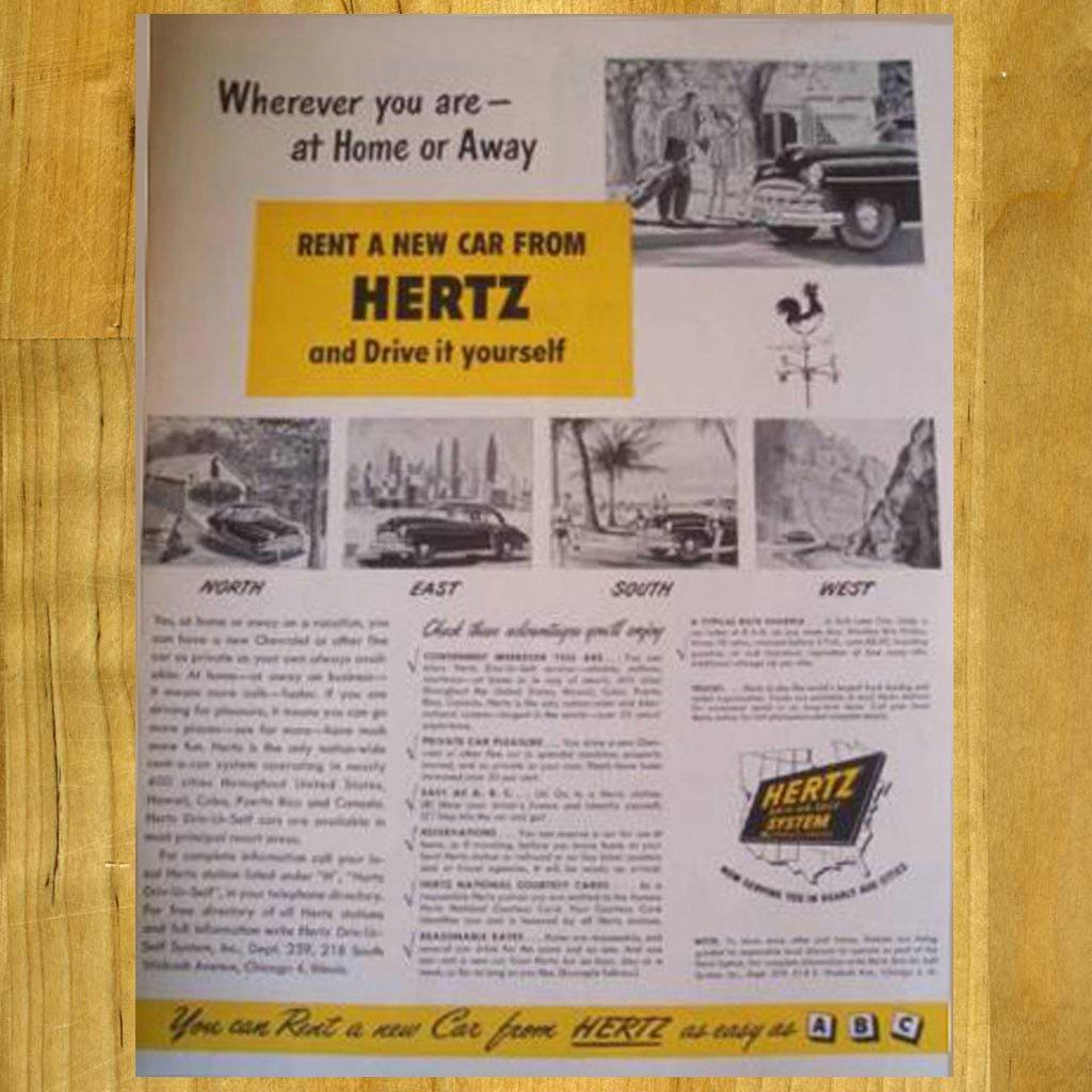 1948 Vintage Hertz Ad with Chevy