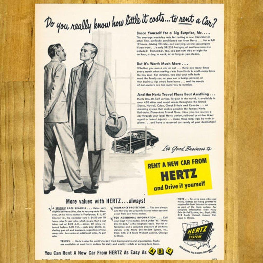 1950 Vintage Hertz Ad with Chevy