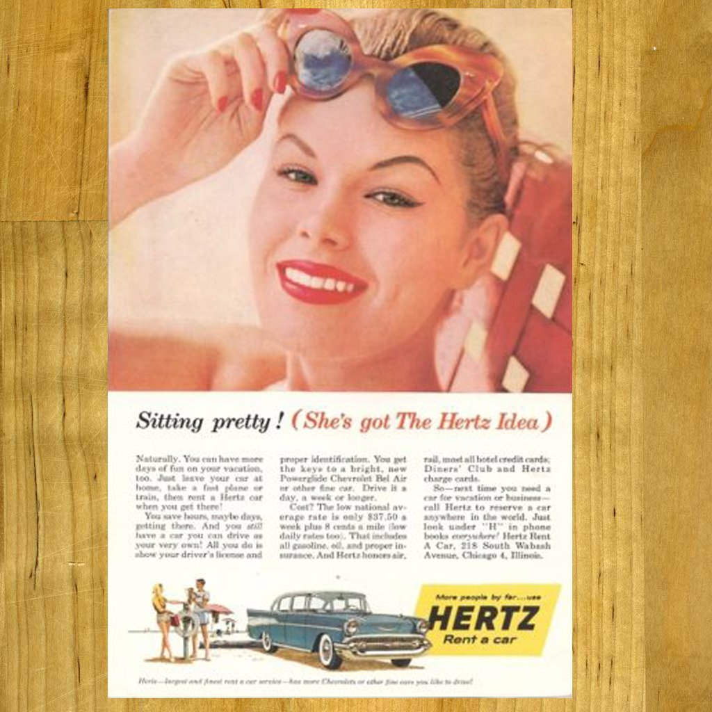 1957 Vintage Hertz Ad with Chevy Car