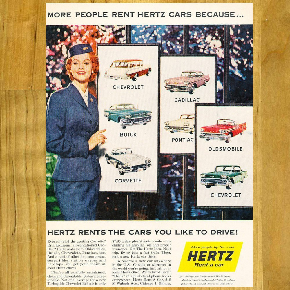 1958 Vintage Hertz Ad with Chevy Car