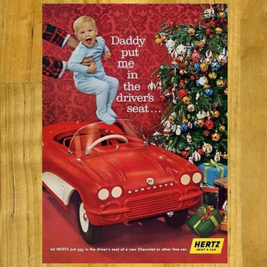 1961 Hertz Rental Vintage Ad with Chevy Corvette Car