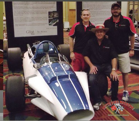 This photo appeared in the December 2012 issue of Vette Vues Magazine when the CERV 1 was in the Great Hall at Bloomington Gold. Pictured here are Mike Yager and his sons Michael and Blake.