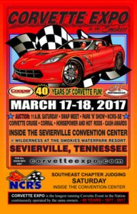 March 17-18, 2017 Corvette Expo and Horsepower & Hot Rods are held at the Sevierville Convention Center in Sevierville, Tennessee. The auction is held inside at the Sevierville Events Center.  Car Show, Swap Meet and Auction.