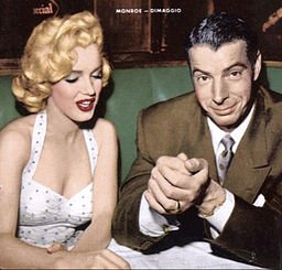 Photo of Marilyn Monroe and Joe DiMaggio from the cover of the January 1954 issue of Now magazine. By Copyright not renewed (eBay cover) [Public domain], via Wikimedia Commons