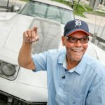 George Talley is reunited with his 1979 Chevrolet Corvette Tuesday, July 1, 2014 at the General Motors World Headquarters – 33 years after it was stolen on Jefferson Avenue, just three miles away – in Detroit, Michigan. Talley received a call from AAA informing him his car turned up in Hattesburg, Mississipi. GM Executive Vice President Mark Reuss heard the story on the news and had the car shipped back to the Renaissance Center for its return to Talley. (Photo by John F. Martin for General Motors)