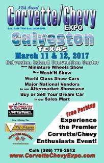 March 11 & 12, 2017: 39TH Corvette Chevy Expo, Galveston Island Convention Center, Galveston, TX