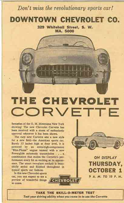 1953 Corvette Newspaper Ad