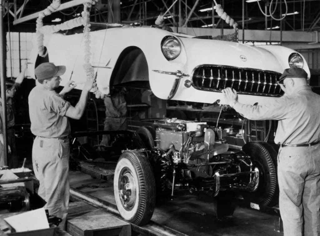 The first Corvettes were produced in Flint, Michigan on June 30, 1953. Only 300 Corvettes were made for the 1953 model year - all Polo White with red interiors.