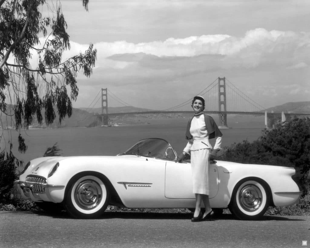 """""""It was the first Corvette,"""" said Welburn of the Chevrolet that grew into an automotive icon. Created by legendary GM styling chief Harley Earl, the 1953's Corvette two-seater sports car was intended to shake up Chevrolet's image, as well as battle the wave of sporty European imports flooding into America. One of its more novel features was its fiberglass body – a first in a mass-produced car from a major manufacturer. Only 300 were built that first year, as Chevrolet proceeded slowly and cautiously with the new composite-material technology. """"I'll never forget the first one I saw,"""" said Welburn. """"I must have been about seven, and walking down a tree-lined street. One came around the corner, rumbled along through the fallen leaves and then was gone – and I was, like, 'Wow, that was cool!'"""""""