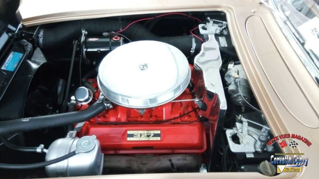 Under the hood of this 1962 Chevrolet Corvette Styling Car is a matching numbers 327/300 HP small-block V-8 engine with the Borg Warner T-10 4-speed transmission and 3.36:1 Positraction rear differential.