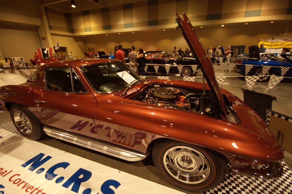 Our next 1967 Corvette is owned by Lou Sanchez and is on at the Corvette Chevy Expo in Galveston Island, Texas. Lou's Marlboro Maroon Corvette has the 427/390 HP option.