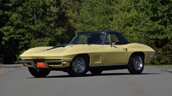 No matter what view you look at this Sunfire Yellow with Black Top, this 1967 Corvette is stunning! The black stinger certainly goods well with the yellow!