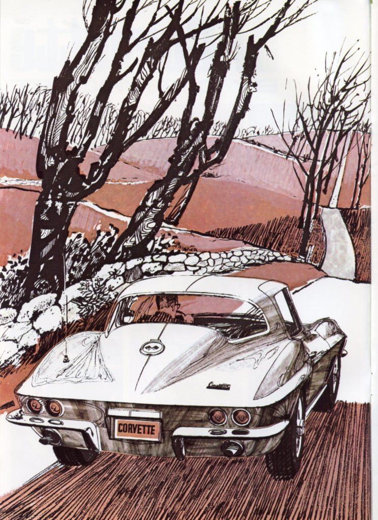 1967 Corvette Brochure - real artist drawing