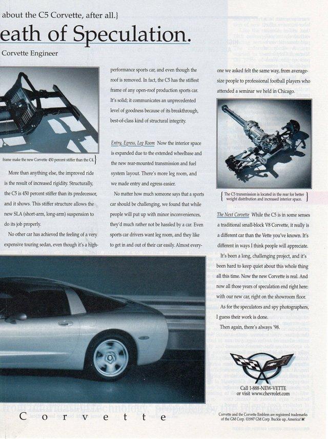 1997 C5 Corvette Magazine Advertisement: Announcing the Death of Speculation.