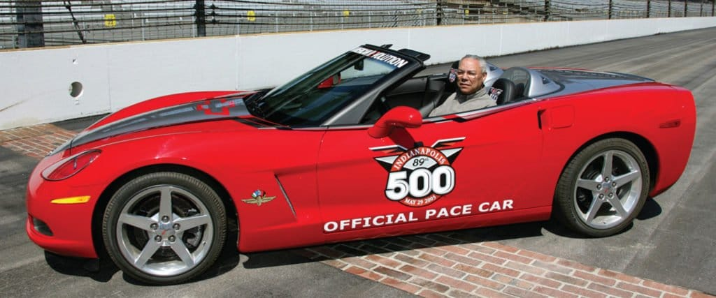 2005 Corvette Convertible Pace Car at the 89th Indianapolis 500. Colin Powell was chosen to drive the Corvette Pace Car.