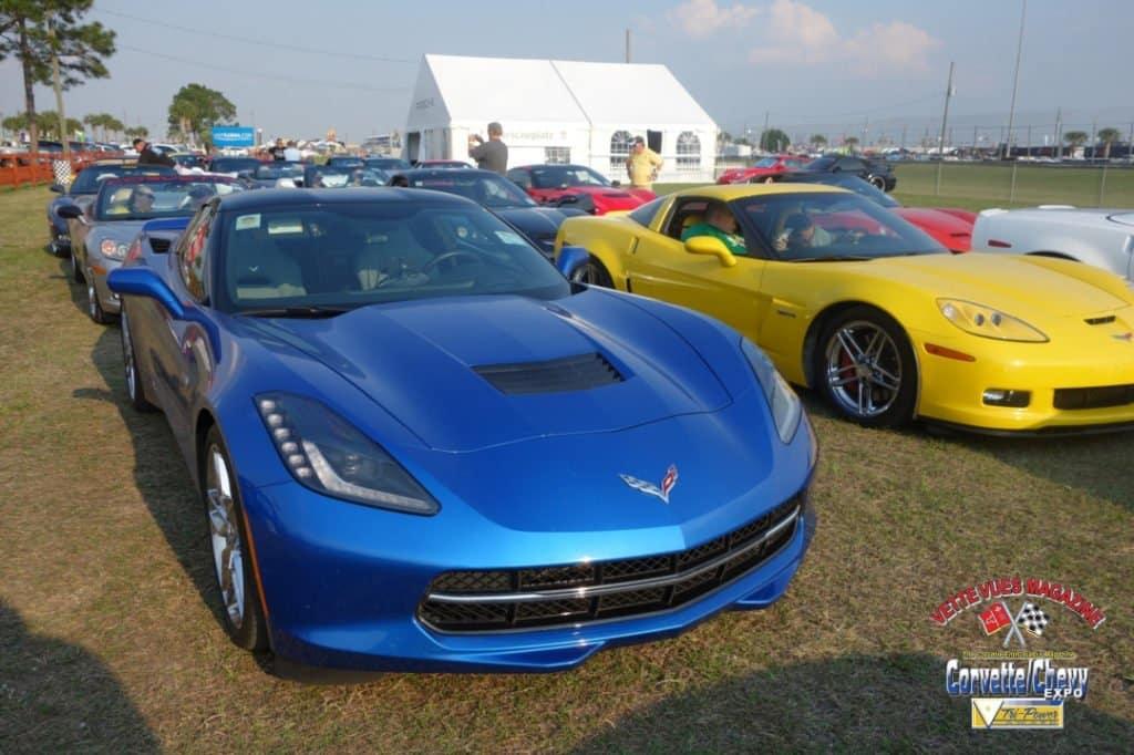 One hundred Corvettes in the Corvette Parade Lap at the 2015 Sebring race.