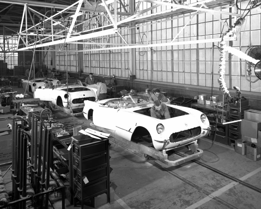 The 1953 Corvette saw a production of only 300 roadsters and all were white. The 1953 Corvettes was assembled in a former Customer Deliver Garage at Van Slyke Avenue and Atherton Road in Flint, Michigan. These original Corvettes was virtually hand built. Photo © General Motors