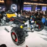 "A life-size LEGO® Batmobile is unveiled in the Chevrolet exhibit Saturday, January 14, 2017 on opening day of the North American International Auto Show in Detroit, Michigan. The 17-foot long vehicle was inspired by Batman's Speedwagon featured in ""The LEGO® Batman Movie,"" which hits U.S. theaters on Feb. 10. (Photo by Steve Fecht for Chevrolet)"