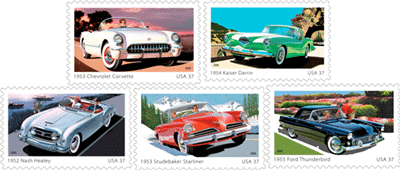 America on the Move: 50s Sporty Cars' postage stamps and Postal Cards roll out of Detroit (in 2005). Among them was a 1953 Corvette Postage Stamp.