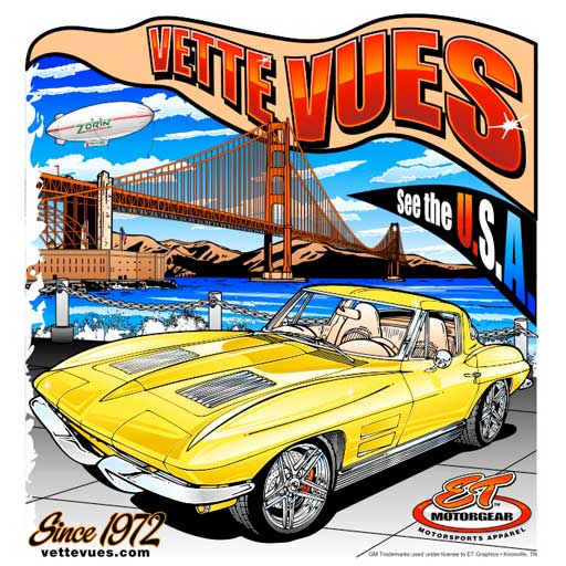 Vette Vues' Corvette T-shirts features our theme See the USA in your Chevrolet Corvette.  Beautifully Silk-Screened on 100% pre-shrunk cotton.  Starting at $18 with Free US Shipping.
