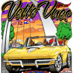 Vette Vues C2 Corvette T-Shirt features a Vette at the St. Louis' Gateway Arch along the Mississippi River.