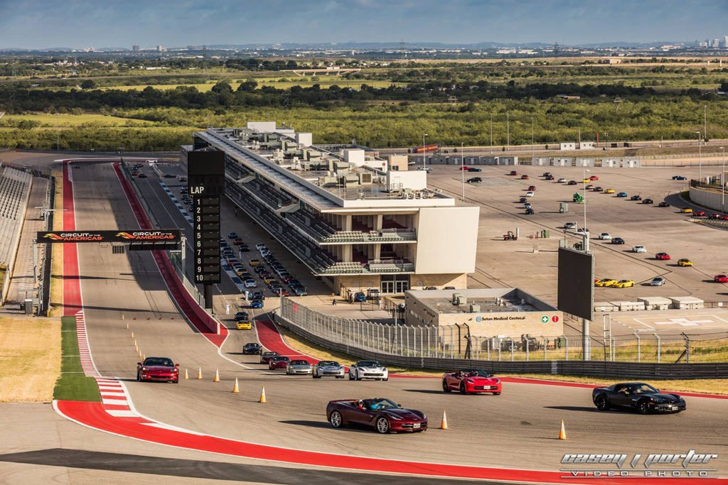 Corvette Invasion Corvette Track Laps at the Circuit of the Americas in Austin Texas.