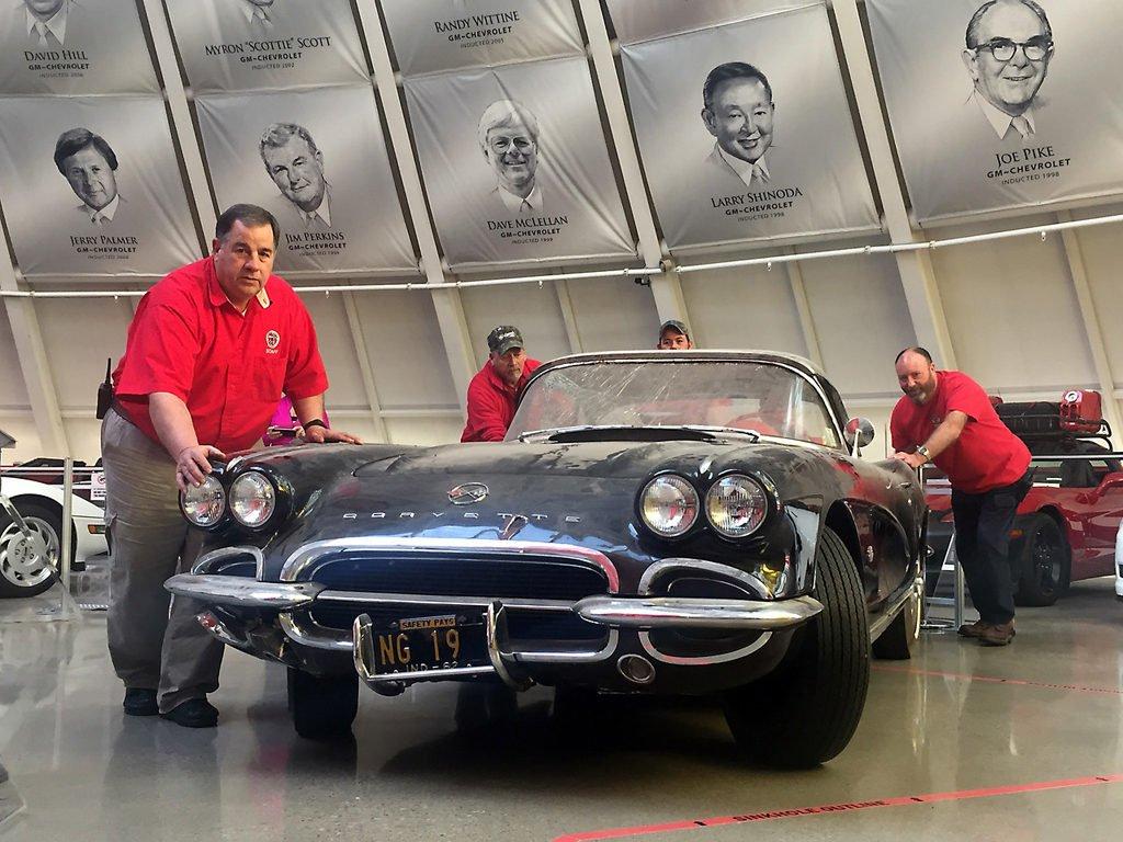 NCM Commemorates Sinkhole's Third Anniversary with Corvette Museum 1962 Sinkhole Corvette Restoration.