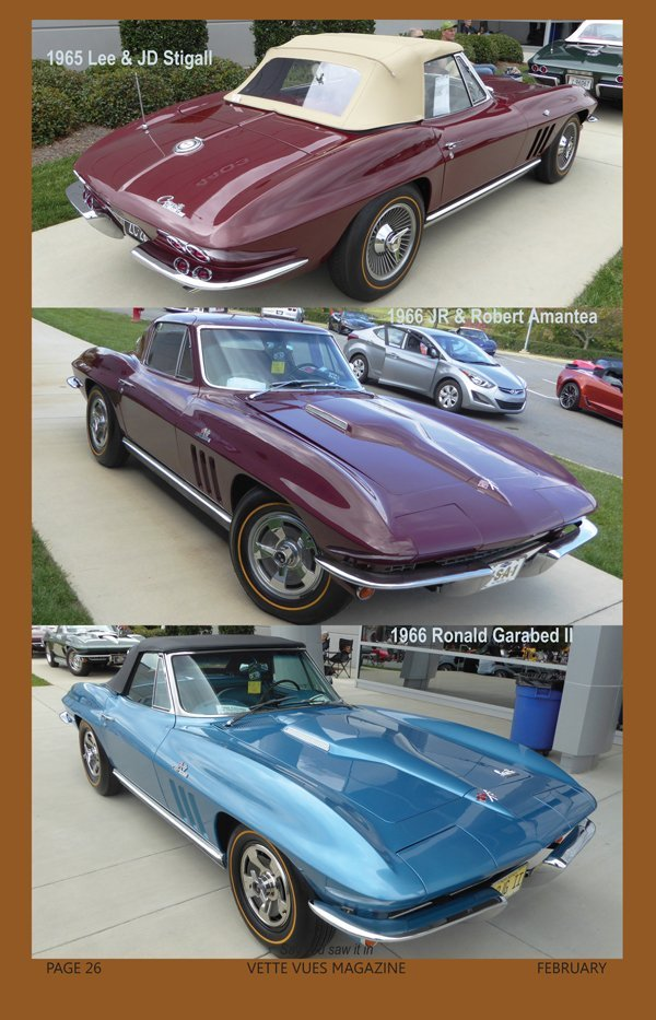 1965 Corvette owned by Lee & JD Stigall and 1966 Corvette owned by Ronald Garabed II at the Bloomington Gold Charlotte event in 2016.